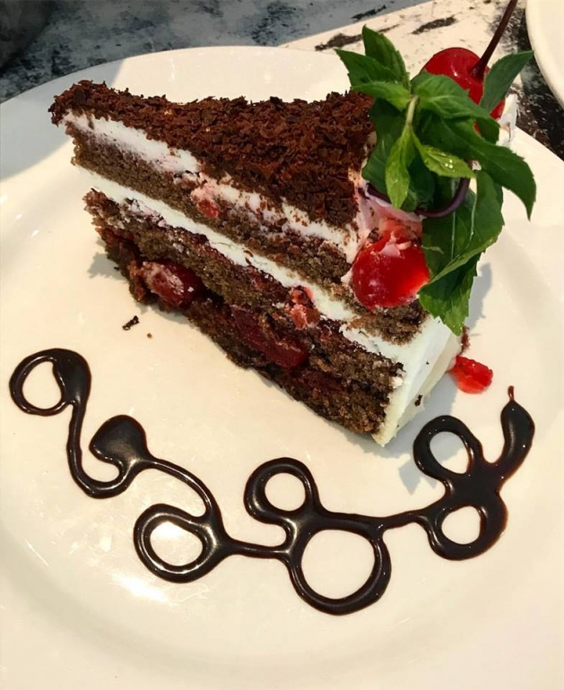 Delectable home made black forest cake