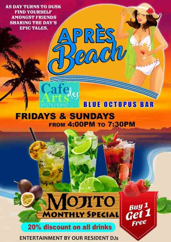 Apres beach, happy hour, cafe des art, m