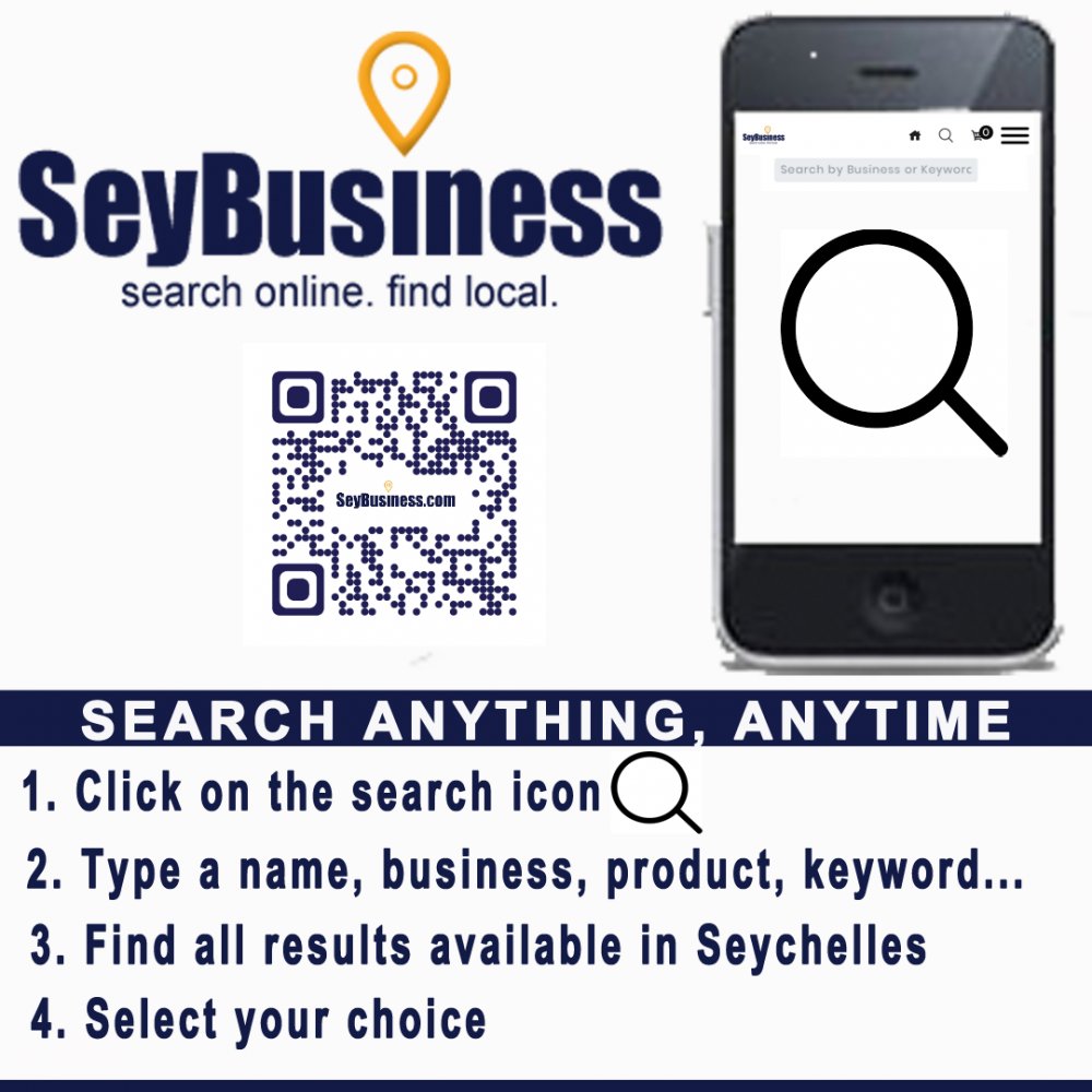 Looking for a company, a product, a service, use the search icon on Seybusiness.com.